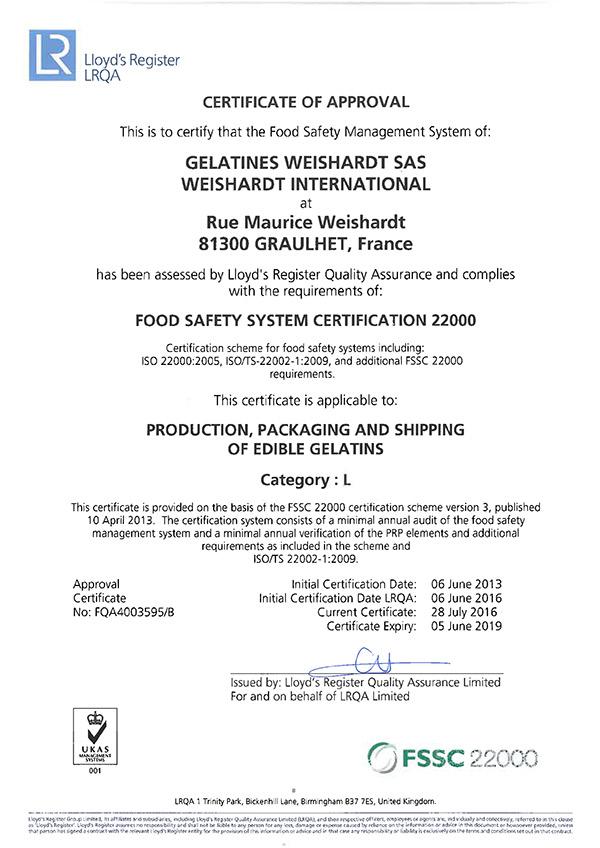 Gelatines Weishardt / France